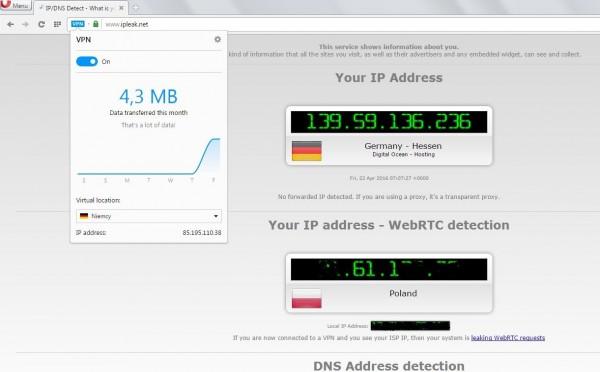VPN w Operze kontra WebRTC...
