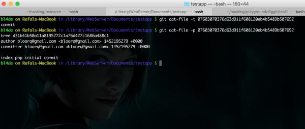 Rysunek 5. Wynik wykonania poleceń git cat-file w oknie konsoli.