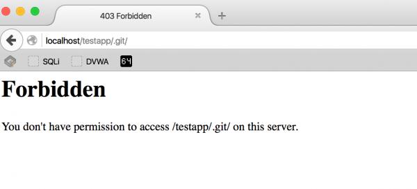 Rysunek 2. Odpowiedź HTTP 403 serwera wskazująca na obecność katalogu .git.