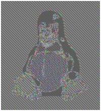 Rysunek 3. Tux zaszyfrowany w trybie ECB (autor obrazka: lewing@isc.tamu.edu).