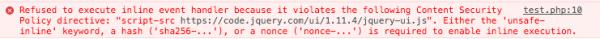 Rysunek 3. Naruszenie CSP widoczne w konsoli Javascript spowodowane wstrzyknięciem ładunku XSS do kodu strony.