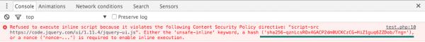 """Rysunek 4. Wartość jednokierunkowej funkcji skrótu dla skryptu """"inline""""."""