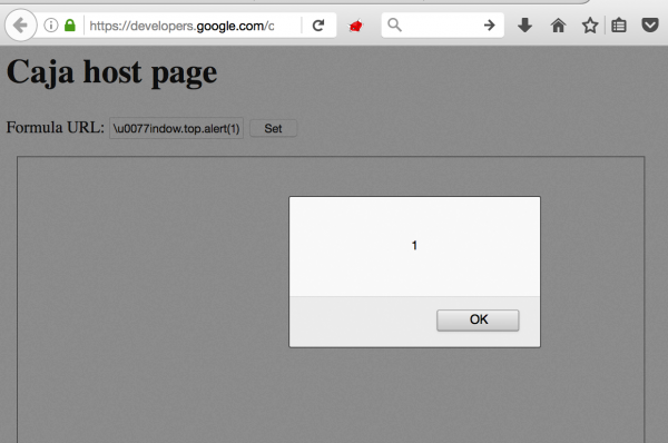 "Rys 2. ""Self-XSS"" w developers.google.com"