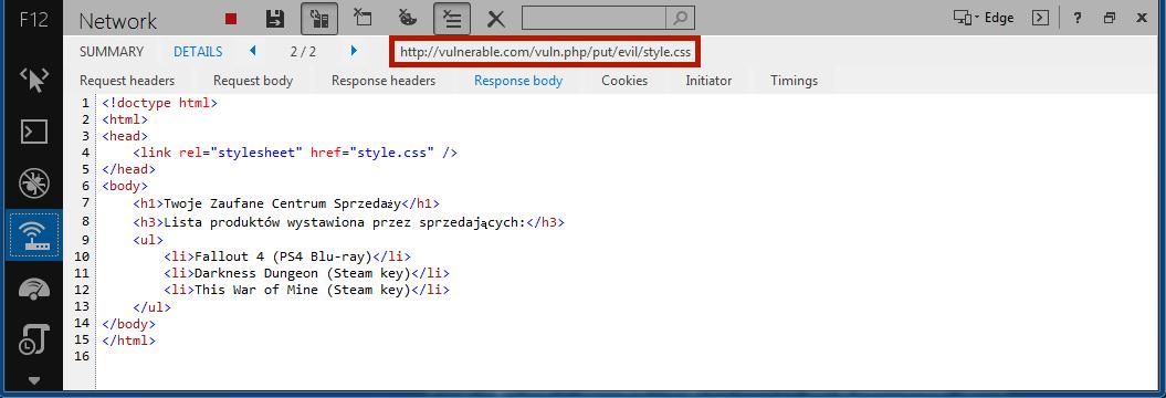 Rysunek 4. Zamiast definicji stylów (lub odpowiedzi 404 Not Found), serwer odpowiada jak na żądanie HTTP GET /vuln.php.