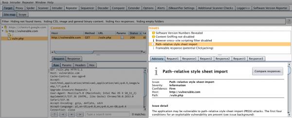 """Rysunek 5. Moduł skanera Burp Suite PRO wykrywa zagrożenie manipulacji ścieżki w celu załadowania złośliwych reguł CSS i raportuje je jako """"Path–relative style sheet import""""."""