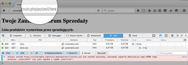 Rysunek 6. Przeglądarki mogą blokować ładowanie zasobów z podejrzanym typem MIME (powyżej: Firefox).