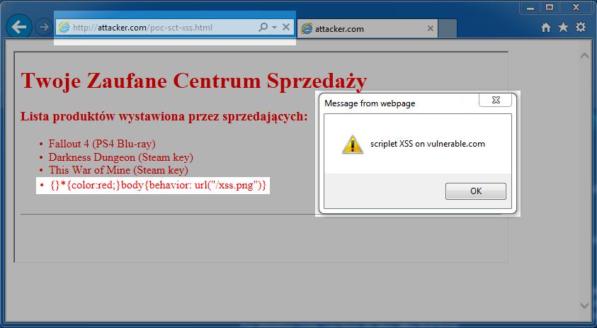 Rysunek 9. XSS przez CSS Injection w Internet Explorer 11 – upragnione wykonanie złośliwego kodu Javascript.