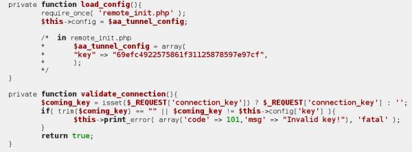 "Rysunek 3. Fragment kodu klasy abmRemoteSupport z zaszytym ""backdoorem"" Atak RemoteKey. Źródło: https://wpvulndb.com/vulnerabilities/7934."