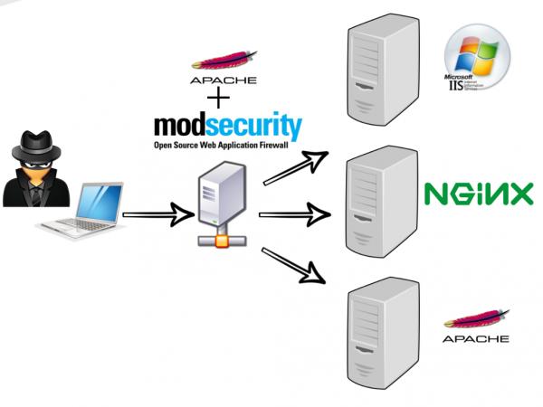 Rysunek 1. Poglądowy schemat działania reverse proxy z ModSecurity.