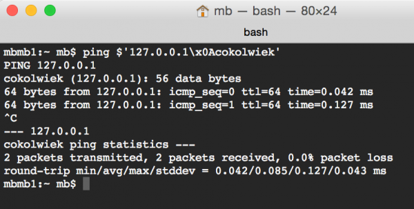 """Rys 1. Adres IP """"127.1\x0Acokolwiek"""" jest rozpoznawany jako prawidłowy"""
