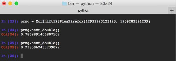 Rys 1. Wygenerowanie dwóch liczb losowych algorytmem XorShift128+