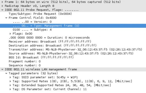Rys.2 Wygląd ramki w programie Wireshark
