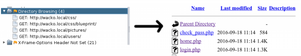 Rys. 13 Linki z zawartością katalogów na aplikacji WackoPicko