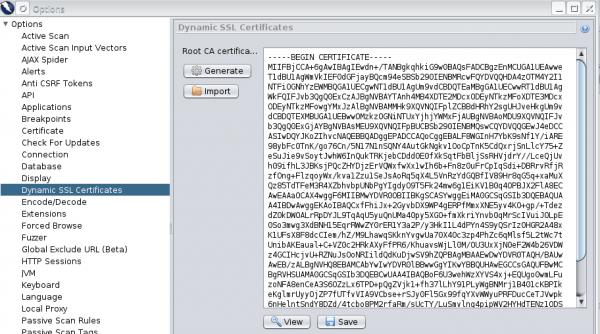 Rys. 3 Certyfikat w opcjach ZAP przed importem do przeglądarki