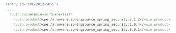 Rys 3. W bazie NVD, z której korzysta Dependency-Check, każdy wpis CVE posiada listę podatnego oprogramowania.