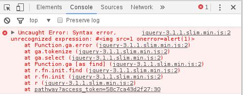 Rys 8. Próba wykonania XSS-a przez jQuery powoduje błąd