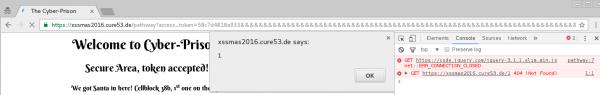 Rys 9. Wykonanie XSS-a w domenie xssmas2016.cure53.de