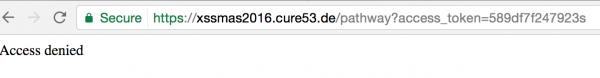"""Rys 1. """"Access denied"""" po podaniu niepoprawnego access_tokenu"""
