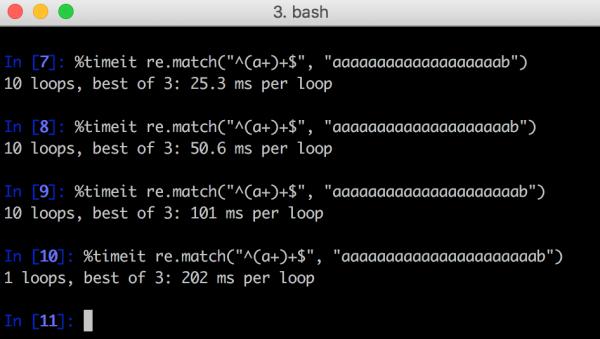 Rys 1. Przykład dopasowania regexa w Pythonie - analiza każdego kolejnego ciągu znaków zajmuje dwa razy dłużej.
