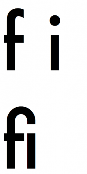 """Standardowy przykład ligatury: sekwencja liter """"f"""" oraz """"i"""""""
