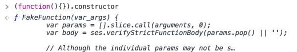 Rys 5. Caja nadpisuje konstruktor funkcji swoim własnym - FakeFunction