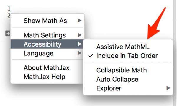 Rys 1. Możliwość włączenia Assistive MathML z poziomu menu MathJaksa