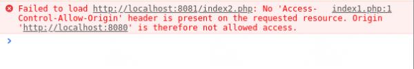 Rysunek 2: Błąd wyrzucany na konsolę przez przeglądarkę Google Chrome w przypadku nieuprawnionej próby dostępu do danych zwróconych z zapytania Cross-Origin.