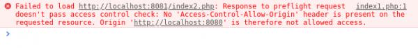 Rysunek 4: Błąd wyrzucany na konsole przez przeglądarkę Google Chrome w przypadku błędu Cross-Origin przy zapytaniu preflight.