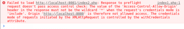 Rysunek 5: Błąd wyrzucany na konsolęprzez przeglądarkę Google Chrome w przypadku próby przesłania danych uwierzytelniających dla gwiazdki.