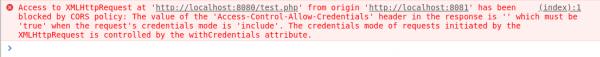 Rys. Zachowanie przeglądarki w przypadku nieudanej komunikacji CORS przy ustawionej fladze withCredentials