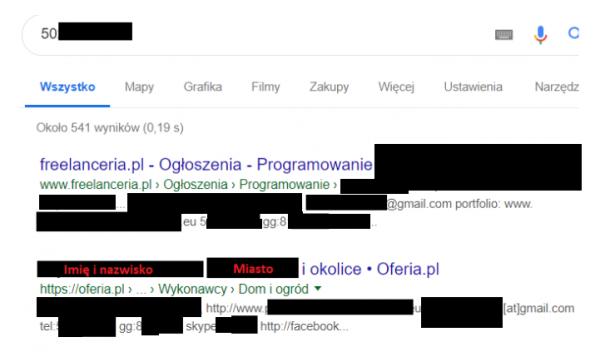 2ce6b8e89c22e7 Wyszukiwanie danych właściciela numeru przy pomocy Google.
