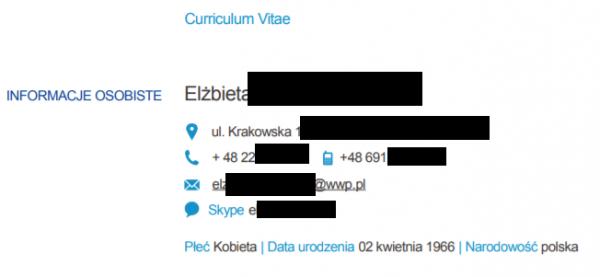62d8df476dd194 Rysunek 5. Wrażliwe dane znajdujące się w CV dostępnym w Internecie.