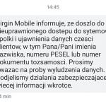 Zhackowano jedną z aplikacji Virgin Mobile. Wyciekły dane części klientów.