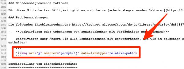 Rys 3. Fragment kodu strony z XSS-em